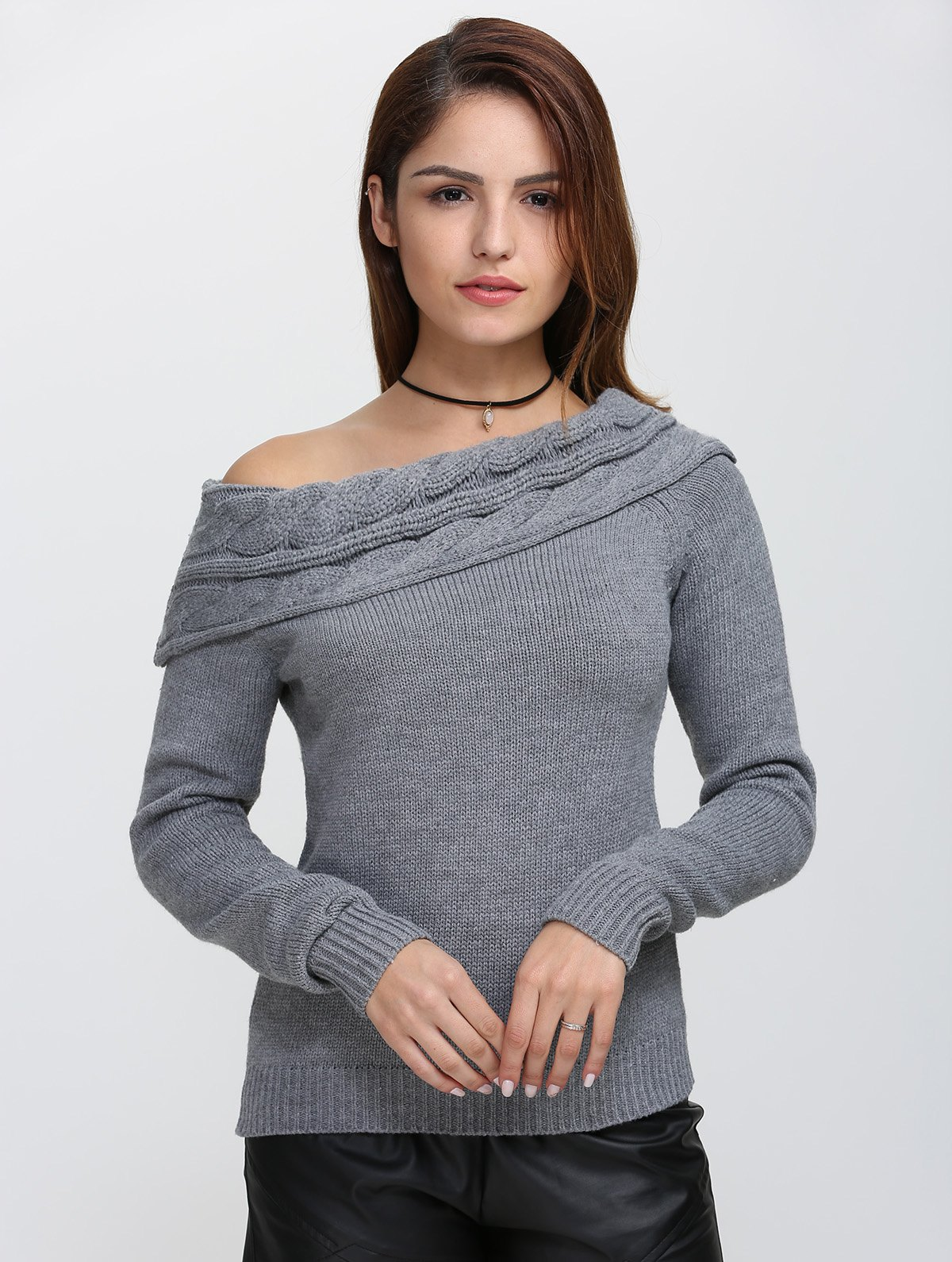 Hot Skew Neck Long Sleeve Pullover Knit Sweater