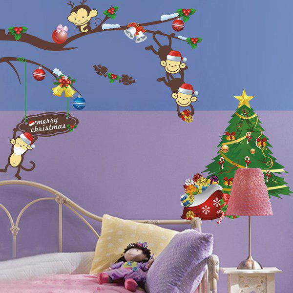 2PCS Christmas Tree Monkey Removable Animal Nursery Wall StickersHOME<br><br>Color: COLORFUL; Wall Sticker Type: Plane Wall Stickers; Functions: Decorative Wall Stickers; Theme: Christmas,Holiday; Material: PVC; Feature: Removable; Size(L*W)(CM): 25*70; Weight: 0.170kg; Package Contents: 2 x Wall Stickers;