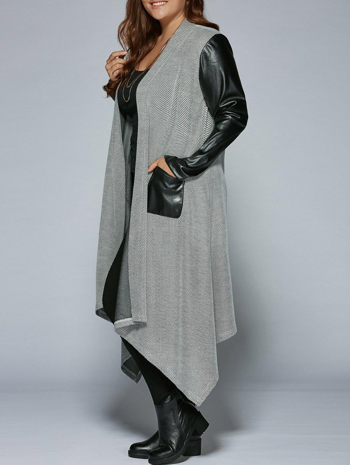 Plus Size PU Leather Trim Longline Asymmetrical CoatWOMEN<br><br>Size: XL; Color: BLACK AND GREY; Clothes Type: Trench; Material: Rayon; Type: Asymmetric Length; Shirt Length: Long; Sleeve Length: Full; Collar: Collarless; Pattern Type: Solid; Embellishment: Pockets; Style: Fashion; Season: Fall,Spring; Weight: 0.5160kg; Package Contents: 1 x Coat;