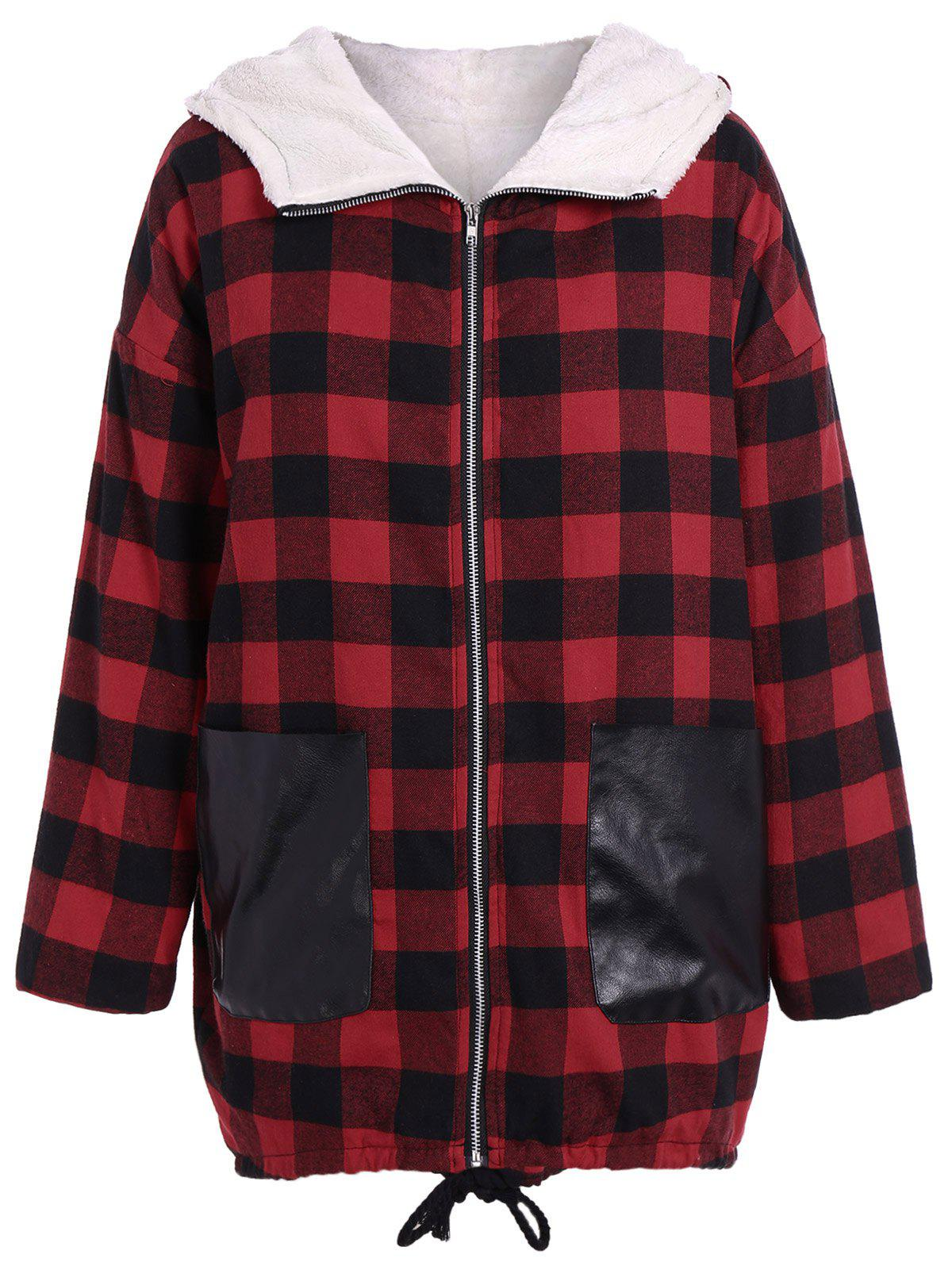 Shop PU-Leather Splicing Hooded Plaid Coat