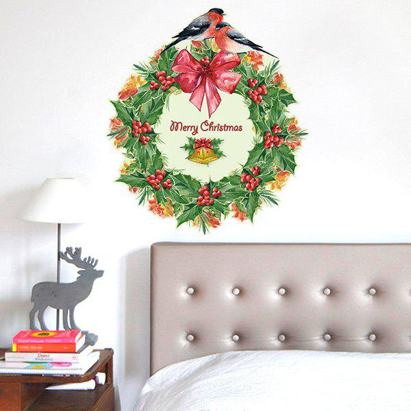 Christmas Wreath Removable Glass Window Wall StickersHOME<br><br>Color: RED AND GREEN; Wall Sticker Type: Plane Wall Stickers; Functions: Decorative Wall Stickers; Theme: Christmas,Holiday; Material: PVC; Feature: Removable,Washable; Size(L*W)(CM): 60*60; Weight: 0.432kg; Package Contents: 1 x Wall Stickers;