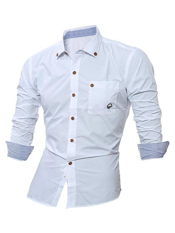 Trendy Embroidered Chest Pocket Button Down Shirt