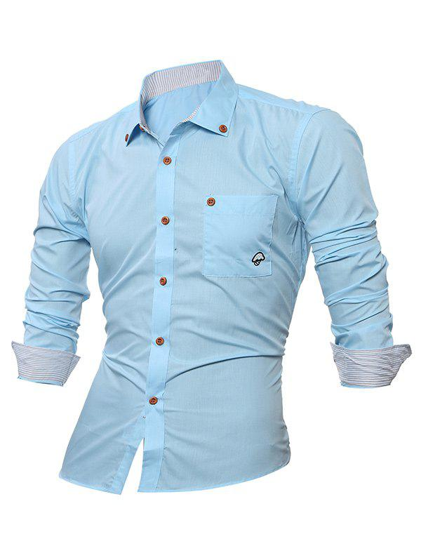 Shops Embroidered Chest Pocket Button Down Shirt