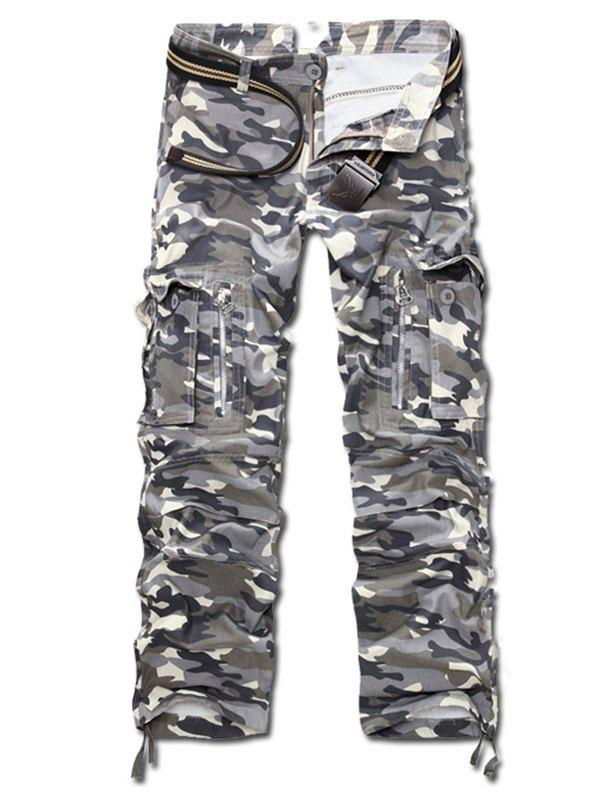 Fashion Camo Multi Pockets Zippered Cargo Pants