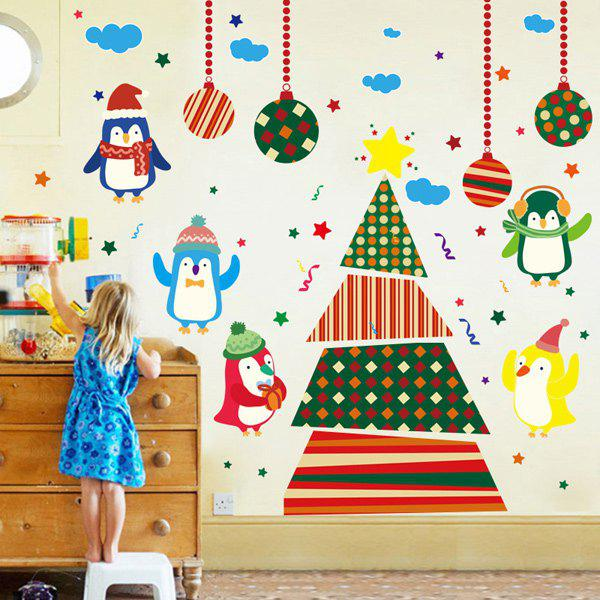 Colorful Penguins Christmas Removable Childrens Room Wall StickersHOME<br><br>Color: COLORFUL; Wall Sticker Type: Plane Wall Stickers; Functions: Decorative Wall Stickers; Theme: Cartoon,Christmas,Holiday; Material: PVC; Feature: Removable,Washable; Size(L*W)(CM): 60*90; Weight: 0.300kg; Package Contents: 1 x Wall Stickers;