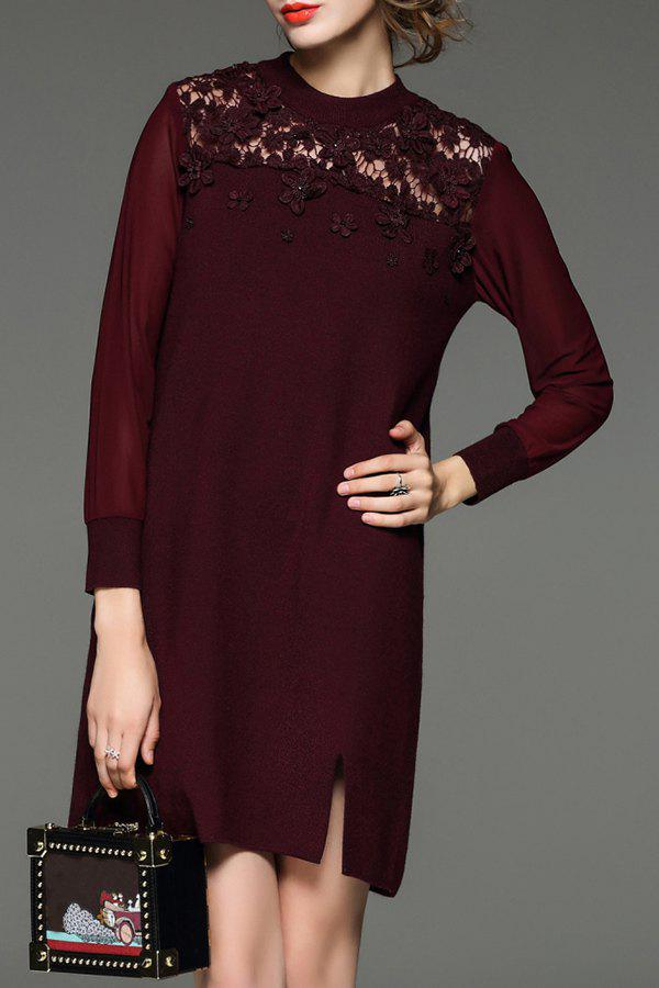 Trendy Lace Paneled Mini Knitted Dress