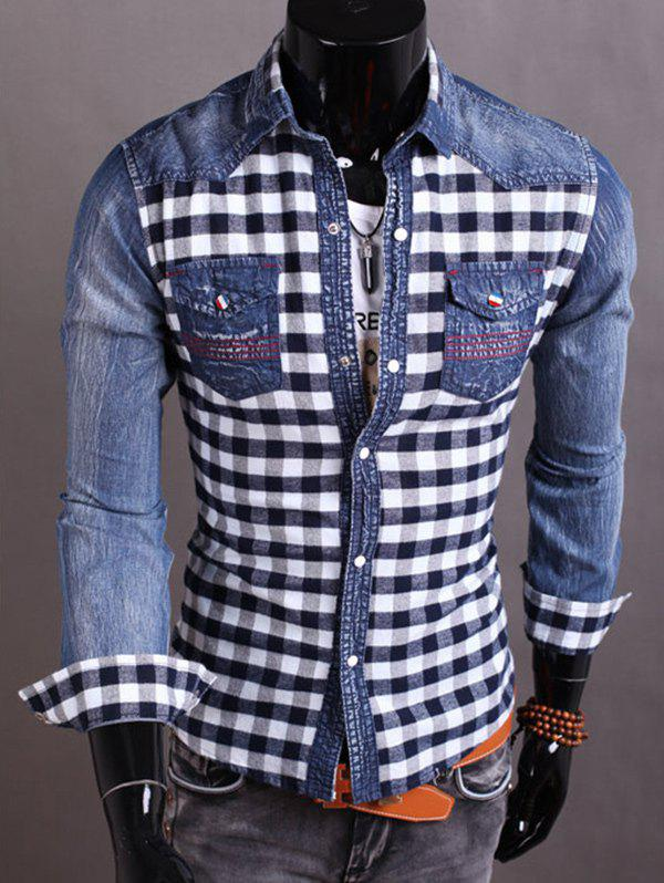 Latest Snap Button Plaid Insert Jean Shirt