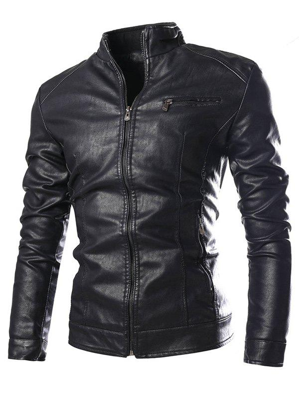 Stand Collar Zip Pocket Faux Leather JacketMEN<br><br>Size: M; Color: BLACK; Clothes Type: Leather &amp; Suede; Style: Fashion; Material: Faux Leather; Collar: Stand Collar; Shirt Length: Regular; Sleeve Length: Long Sleeves; Season: Fall,Spring,Winter; Weight: 0.9010kg; Package Contents: 1 x Jacket;