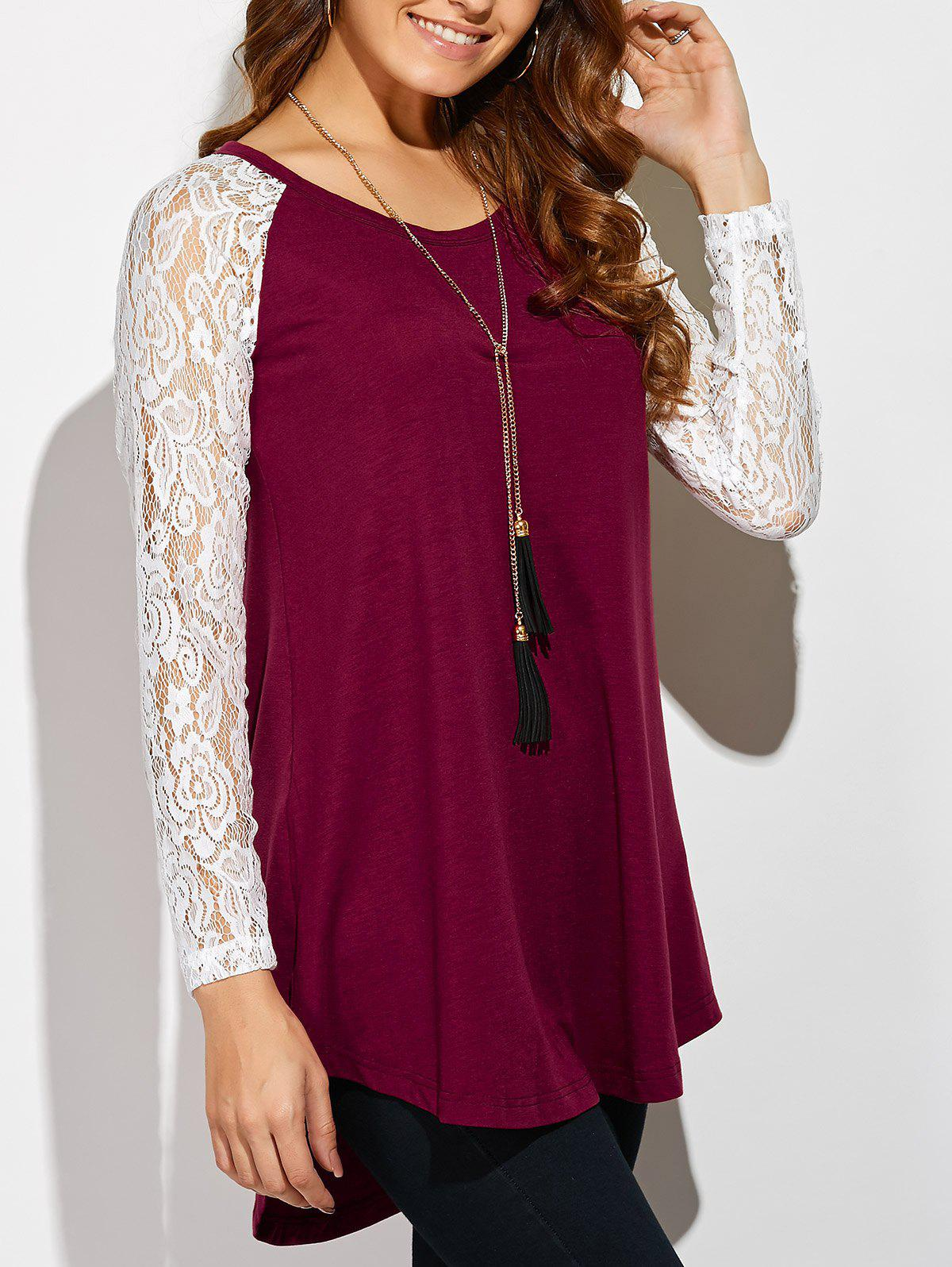 Lace Sleeve High Low Hem T-Shirt, Red with white