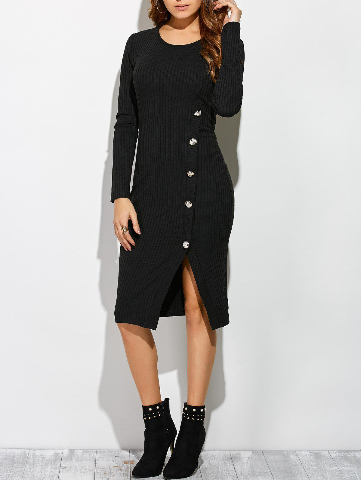 Unique Slit Ribbed Long Sleeve Bodycon Dress