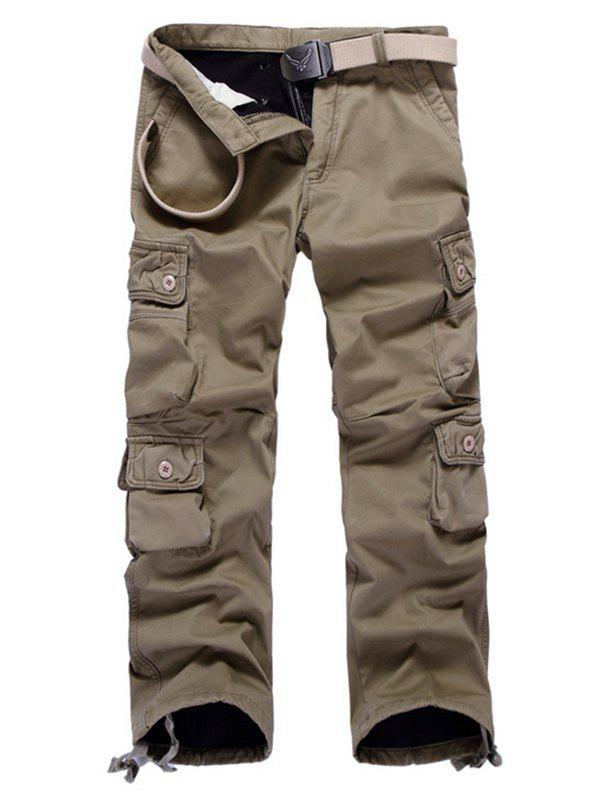 Chic Multi Pockets Drawstring Cuff Flocking Cargo Pants