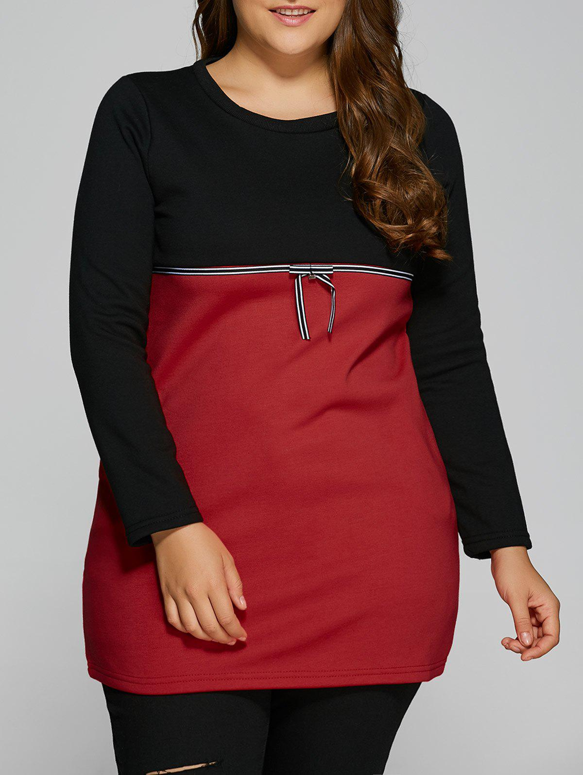 Shop Plus Size Tunic Color Block Panel T-Shirt