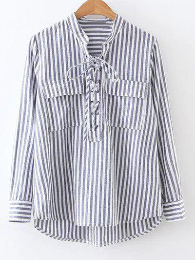 Shop Pocket Striped Lace Up Blouse