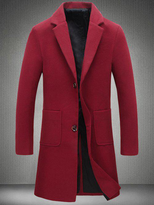 Trendy Notch Lapel Patch Pocket Back Vent Woolen Coat