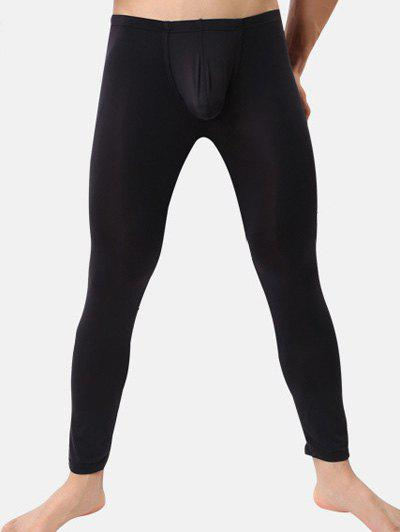 Breathable Ultrathin U Convex Pouch Long PantsMEN<br><br>Size: XL; Color: BLACK; Material: Cotton,Faux Leather,Polyester; Pattern Type: Solid; Weight: 0.128kg; Package Contents: 1 x Pants;