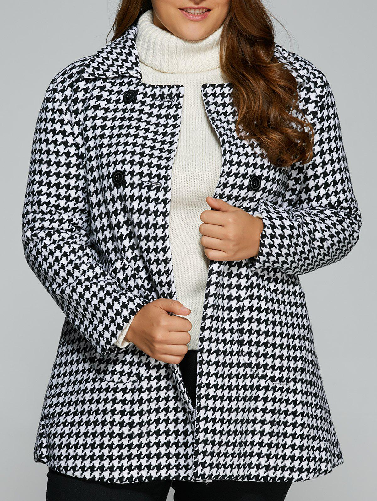 Buy Warm Plus Size Houndstooth Coat