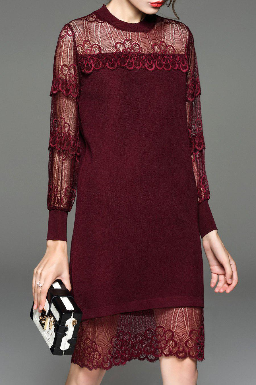 Store Lace Sheer Long Sleeve Shift Holiday Dress