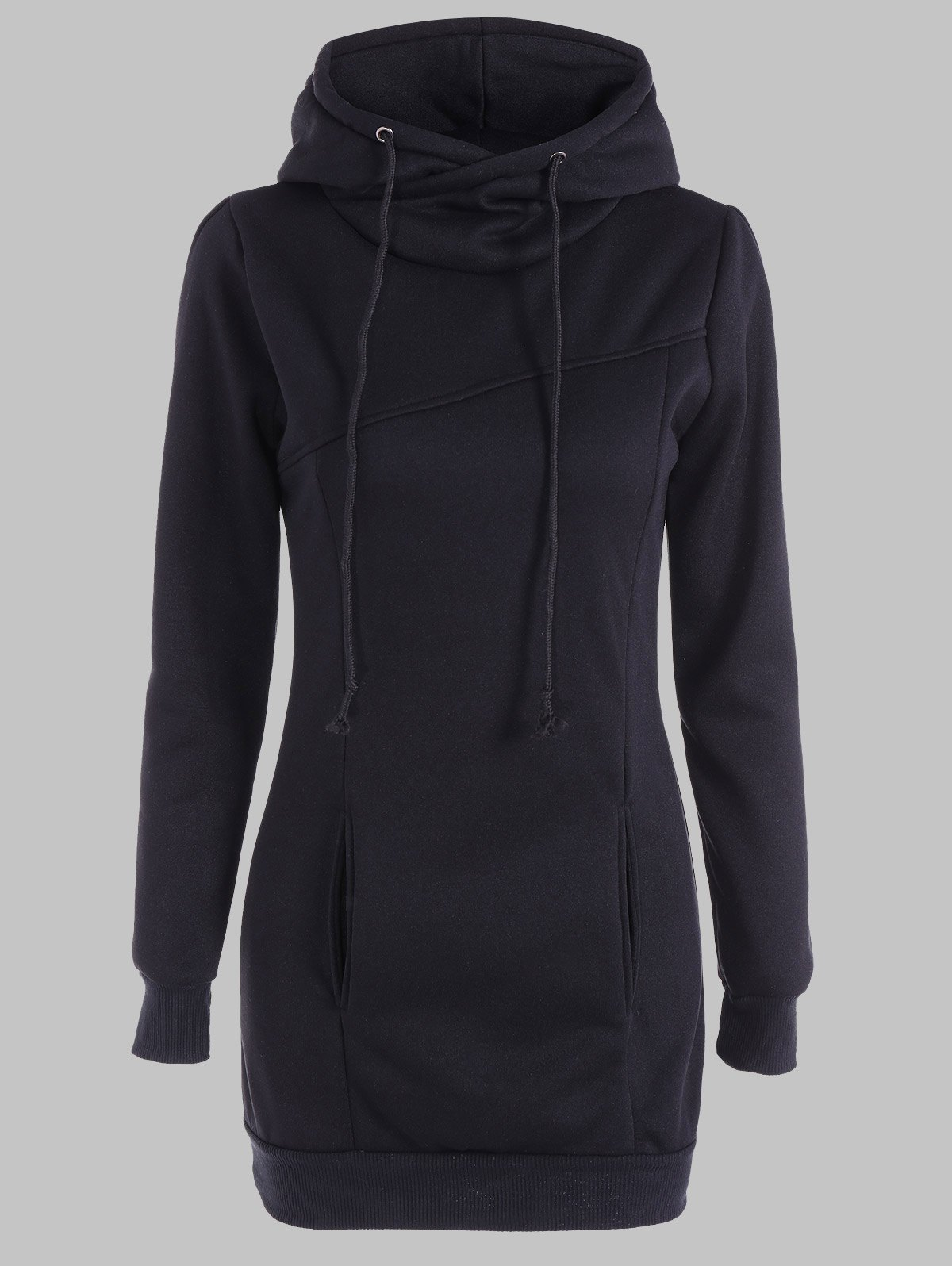 Slimming Pullover Pockets Design HoodieWOMEN<br><br>Size: 2XL; Color: BLACK; Material: Polyester; Shirt Length: Long; Sleeve Length: Full; Style: Casual; Pattern Style: Solid; Season: Fall,Spring; Weight: 0.470kg; Package Contents: 1 x Hoodie;