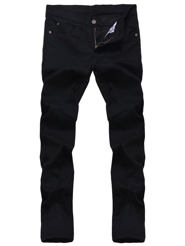 Chic Solid Color Zipper Fly Straight Leg Jeans For Men