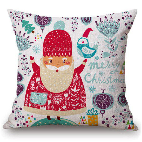 Merry Cartoon Santa Claus Pillow CaseHOME<br><br>Color: COLORMIX; Material: Polyester / Cotton; Pattern: Printed; Style: Modern/Contemporary; Shape: Square; Size(CM): 45*45; Weight: 0.110kg; Package Contents: 1 x Pillow Case;