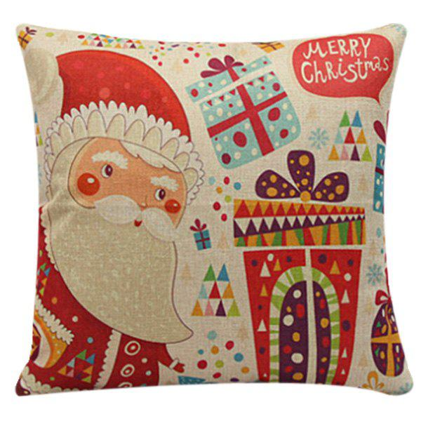 Merry Cartoon Santa Claus Gifts Pillow CaseHOME<br><br>Color: RED; Material: Polyester / Cotton; Pattern: Printed; Style: Modern/Contemporary; Shape: Square; Size(CM): 45*45cm; Weight: 0.110kg; Package Contents: 1 x Pillow Case;