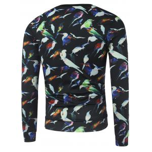 All Over Birds Printed Crew Neck Sweatshirt - BLACK XL