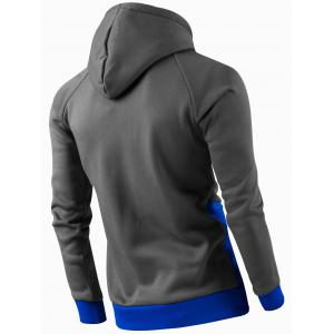 Inclined Zipper Classic Color Lump Splicing Rib Hem Slimming Hooded Long Sleeves Men's Hoodie -