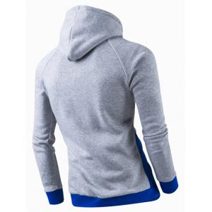 Inclined Zipper Classic Color Lump Splicing Rib Hem Slimming Hooded Long Sleeves Men's Hoodie - BLUE 2XL
