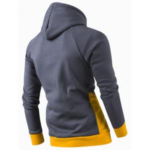 Inclined Zipper Classic Color Lump Splicing Rib Hem Slimming Hooded Long Sleeves Men's Hoodie - YELLOW M