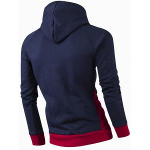 Inclined Zipper Classic Color Lump Splicing Rib Hem Slimming Hooded Long Sleeves Men's Hoodie - CADETBLUE XL