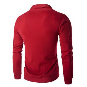 Single-Breasted Color Splicing Turn-down Collar Long Sleeves Slimming Men's Casual Cardigan - RED M