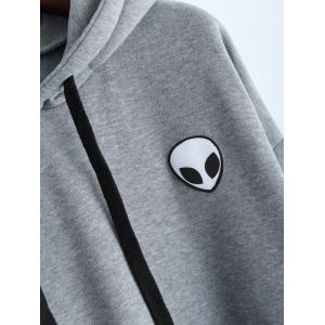 Sporty Long Sleeve Drawstring Alien Pattern Hoodie -