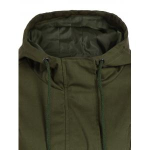 Drawstring Cargo Jacket with Hood - ARMY GREEN L
