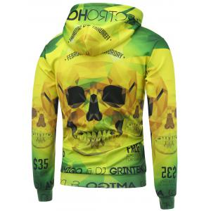 3D Skull Printed Long Sleeve Drawstring Hoodie - YELLOW/GREEN 5XL