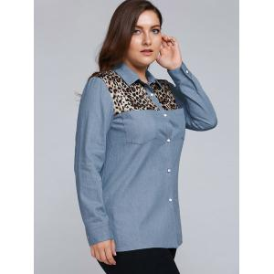 Plus Size Leopard Trim Denim Shirt -