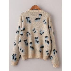 Vintage Cheetah Pattern Sweater - KHAKI ONE SIZE