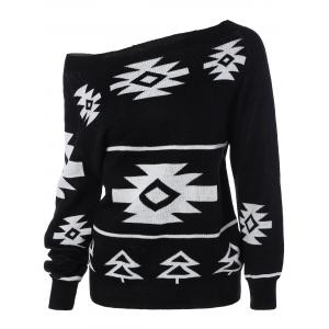 Long Sleeve Geometric Pullover Convertible Sweater - Black - S