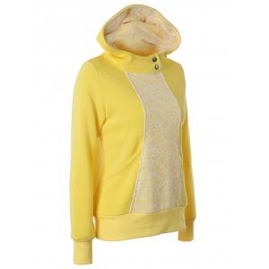 Lace Detail Pullover Yellow Hoodie -