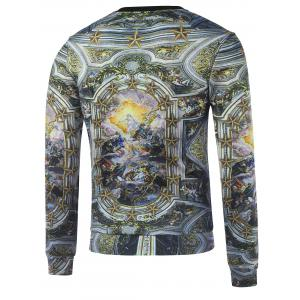 Crew Neck Religious Printed Sweatshirt - GOLDEN XL