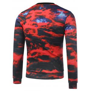 Crew Neck Graphic Print Cloud Sweatshirt - RED XL