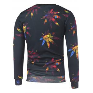 Crew Neck Maple Leaves Printed Sweatshirt - BLACK L
