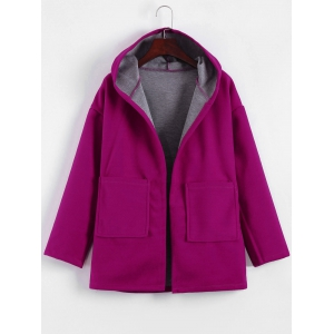 Plus Size Hooded Candy Color Long Open Front Coat - Fuchsia Rose - L