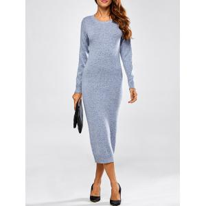 Cut Out Long Sleeve Fitted Midi Jumper Dress - Blue - One Size