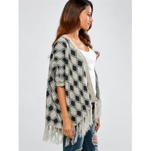 Fringed Diamond Jacquard Cape Cardigan -