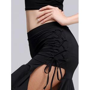 Lace-Up Slit  Sheath Mermaid Skirt - BLACK M