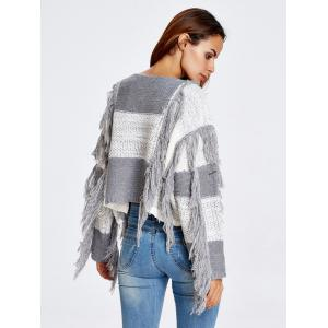 Fringed Color Block Cropped Sweater - GRAY ONE SIZE