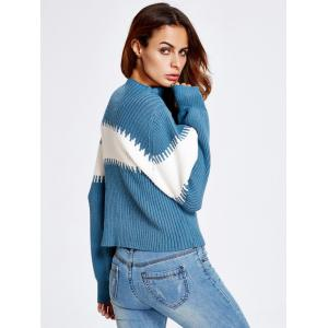 Lantern Sleeve Color Block Chunky Sweater -