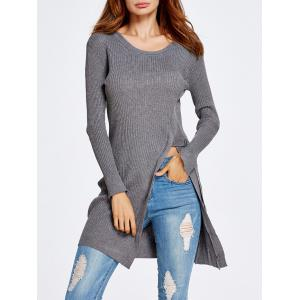 Front Slit Long Knit Sweater -