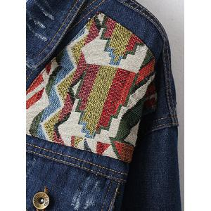 Ribbed Ethnic Embroidered Jean Jacket -