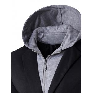 Faux Twinset Hooded Zip-Up Spliced One-Button Jacket - BLACK XL